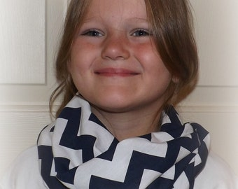 Ready to Ship Navy and White Chevron Girls Infinity Scarf Flower Girls Gift Jersey Knit Girls Accessories