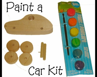 Paint a Car Kit Wooden Car Paint Kit Ready to ship