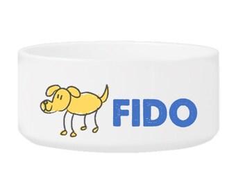 Personalized Dog Bowl - Ceramic Dog bowl - Puppy bowl - Cartoon Doggy
