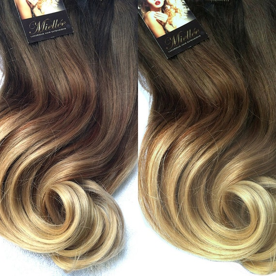 Items similar to For Gaby / 22\u0026quot; Ombre Clip In Hair Extensions / Malibu Blonde Balayage / Darkest Brown Roots / Wavy Hair / 10 Piece Clip In Set on Etsy