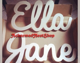 Connected Large Wooden Script Name-Word-Phrase-Wooden Name for Kids or Baby Room Decor-Kids Personalized Wooden Name Signs