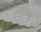 """14Yds Embroidery scalloped cotton eyelet lace trim 2.9""""(7.5cm) YH835 laceking2013"""