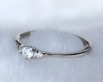 Petite, Natural white sapphire Trilogy ring in white gold or titanium - engagement ring - wedding ring