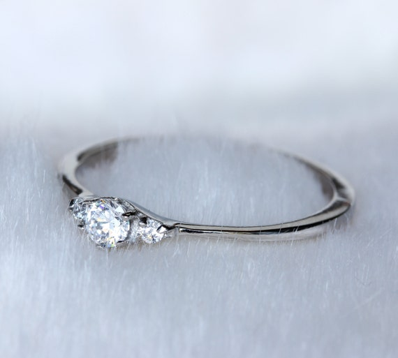 Petite Natural white sapphire Trilogy ring in white gold or