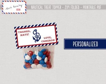 Nautical Favor Bag Toppers - PRINTABLE Treat Bag Toppers, Personalized Goody Bag Toppers, Pool Party, Beach, Birthday Goodie Bag Favor Tags