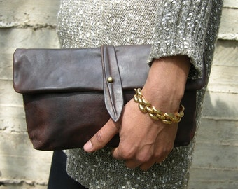 Leather Clutch, Evening Bag, Foldover Clutch, Dark Brown Leather Clutch, Evening Clutch, Clutch Bag, Leather Evening Bag, Classic Clutch
