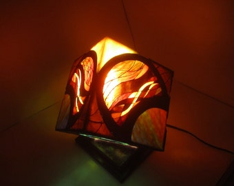 Unique stained glass cube lantern.
