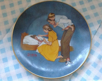 "1980 Norman Rockwell Collector Plate, ""Sweet Dreams"" from  the American Family Series II, numbered, Norman Rockwell Museum"