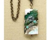 Artisan Lampwork Pendant, Venetian Murano Glass Pendant, Antique Brass Jewelry, Slate Green, Cream