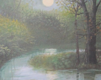 Night At The Creek 9x12 original oil painting