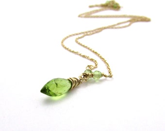 14K gold peridot necklace, August birthstone necklace, gold peridot pendant, solid gold peridot gemstone necklace, 14k gold jewelry