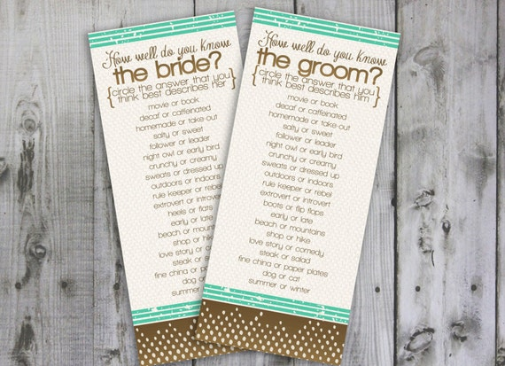 Items Similar To How Well Do You Know The Bride And Groom