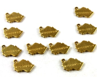 6x Brass Engraved Wisconsin State Charms - M057-WI