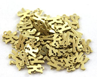 """5x Letter """"K"""" Brass Initial Charms - M071-K"""