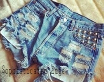 SALE! Studded Ripped High Waist Denim Shorts -Plus Size Available!
