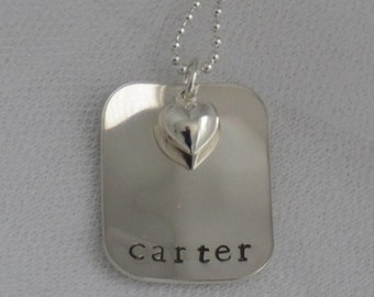 Personalized Sterling Silver .925 Hand Stamped Custom Mother's Necklace