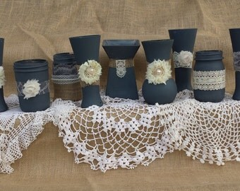 Charcoal Gray And Ivory Shabby Chic Wedding Vases Burlap
