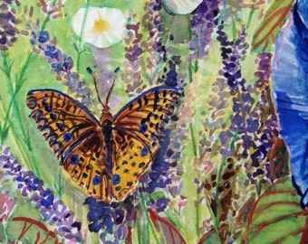 Morning glory, lavender and butterflies watercolor