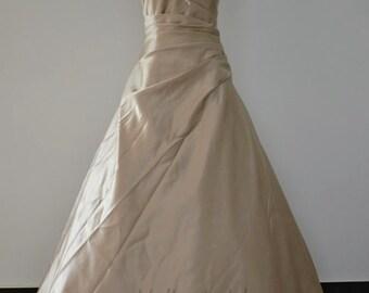 Champagne Satin Ivory Lace Beading Wedding Gown Sweetheart Corset Back Wedding Dress