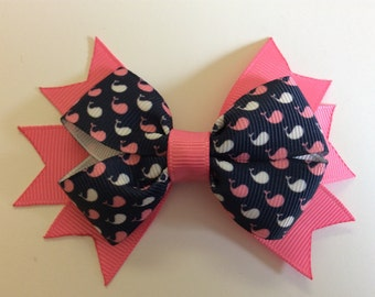 Whale Bow with Pink Spikes
