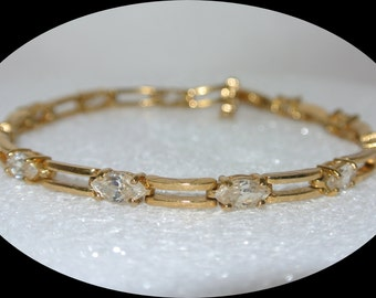 REDUCED!! 14k Yellow Gold Plated Cubic Zirconia Tennis Bracelet