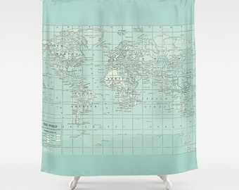 Soft Aqua Map Shower Curtain - Historical map - Home Decor - Bathroom - travel decor, aqua, coastal,  fabric, bathroom,