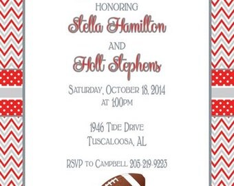 Chevron with Polka Dots Alabama Invitation