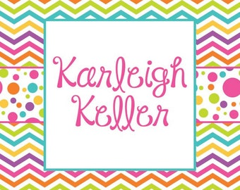 Bright Chevron and Polka Dot Personalized Gift Tags