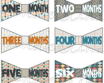Baby Boy Monthly Stickers, Baby Month Sticker, Bowtie Design 0-12 months