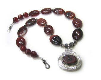 Agate Dreams: Agate, carnelian and sterling silver necklace and earrings