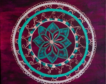 Giclee PRINT 5x5 Original Henna Mehndi Inspired Acrylic Art Dream Catcher Painting Abstract Modern Minimalist Greeting Card