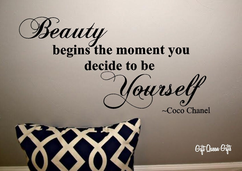 Coco Chanel Quote Wall Decal Beauty Begins The by GiftQueenGifts