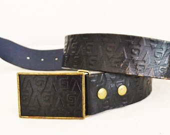 "Tooled leather Belt,black, Leather,Matching Buckle, 36"" Free shipping in the US"