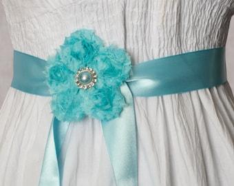 Aqua Flower Ribbon Sash