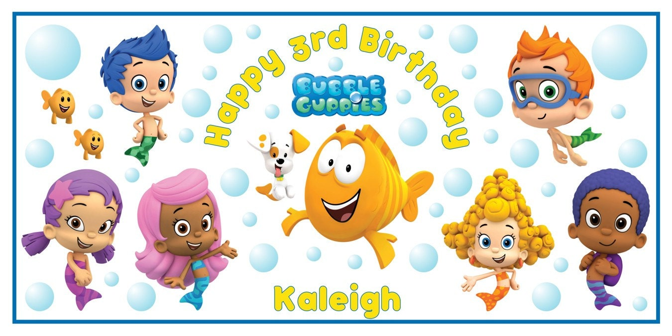 Personalized nick jr bubble guppies birthday party big vinyl zoom amipublicfo Images