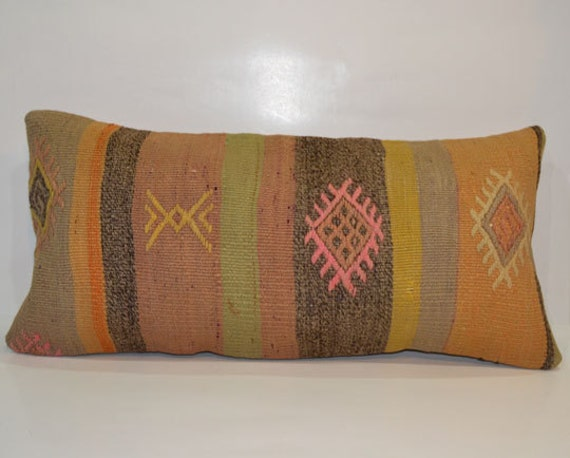 Long Decorative Lumbar Pillow : Items similar to Decorative Throw Pillows-Bohemian Decor Kilim Lumbar Pillow-12x24 Long Lumbar ...