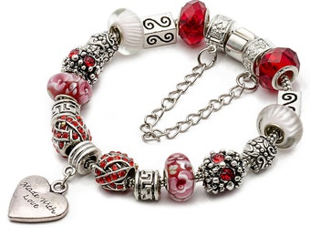 eArt Made With Love Completed European Charm Bracelet, Free Shipping Worldwide #PANBRC-19