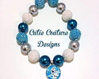 Frozen Necklace, Chunky Necklace, Disney Inspired Necklace, Rhinestone Necklace, Bubblegum Necklace, Birthday Necklace, Olaf Necklace