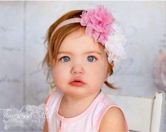 Scarlett- Pink and White headband, White headband, Pink Headband, white and pink birthday headband, white and pink Flower Girl Headband
