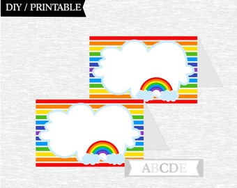 Instant Download Tented Food Labels Rainbow Birthday party DIY Printable (PDSSD030)