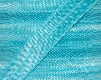 Misty Turquoise Fold Over Elastic - Elastic For Baby Headbands and Hair Ties - 5 Yards of 5/8 inch FOE