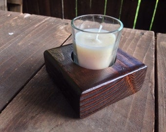 Small Wood Votive Candle Holder