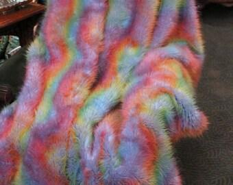 FUR ACCETNS Faux Fur Throw Blanket  / Rainbow