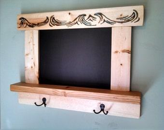 Chalkboard Shelf Coat Rack Wood - Pyrography Blue Waves Carved Design