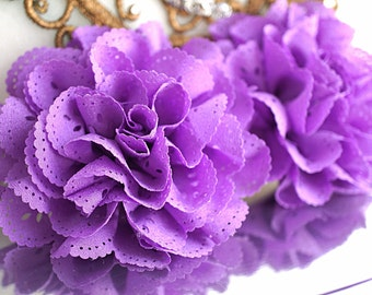 2 Purple Eyelet Flower - Fabric Flower - Vintage Chiffon Flower - Lace rose - Wholesale flowers - Lace Flower - Eyelet Fabric Flower