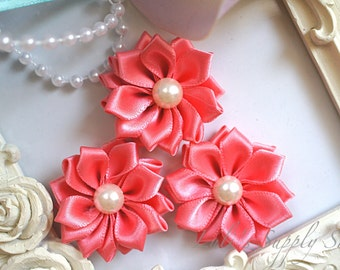 3 Coral Satin Ribbon Flowers w/ Pearl Center - Coral Petite Satin flower - Mini Satin Ribbon Flower - Fabric Flower - wholesale flowers