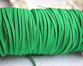 5 Yards Emerald Green Skinny Elastic 1/8 inch Elastic - Green- Skinny Elastic - Elastic by the yard - Thin Elastic - DIY - Headbands