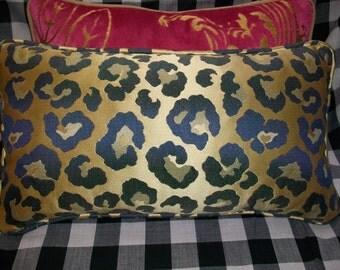 """Blue and Gold Designer Silk  """"Leopard"""" Lumbar Accent Pillow    Down Insert"""