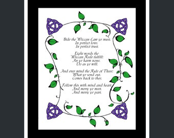 Wiccan Rede Print -- Pagan, Wicca, Do No Harm, Rule of Three, Colour, Black & White