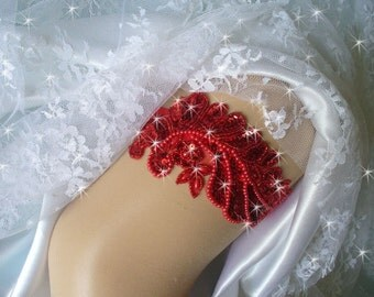 Christmas Wedding Garter, Red Sequin Garter, Bling Garter, Beaded Red Bridal Garter, Red Wedding Garters and Lingerie,  8 Colors Available